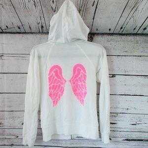 Victorias Secret white pink angel zip up jacket XS
